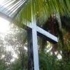 Minnesplats från besök av en grupp Chagossianer