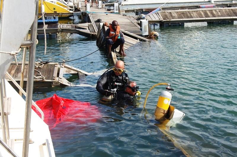 Dykare undersöker bryggorna under ytan